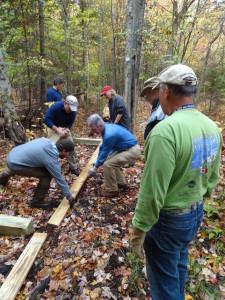 Volunteers hard at work during Trail Maintenance Day.
