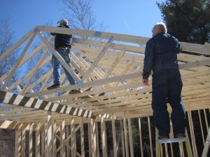 Erecting the joists to the roof